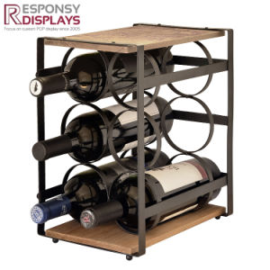 Custom Metal and Wood Logo Laser Marked Whisky or Wine Bottles Display Racks pictures & photos
