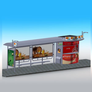 Big Size Bus Stop Design Solar Bus Stop with Light Box and Bench pictures & photos