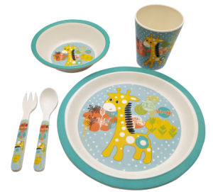 Eco-Friendly Bamboo Fiber Kids Dinnerware Set Child Cartoon 5 Piece Dishes pictures & photos