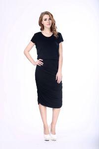 Hot Sale Women Black Bodycon Dress Viscose Cotton Jersey Plain Black Dress pictures & photos