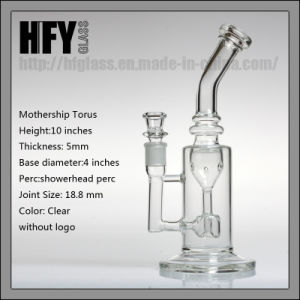 Hfy Glass Mothership Torus Clear 10 Inches Recycler DAB Rigs Oil Glass Smoking Pipe 18.8mm Joint Size Pipes in Stock pictures & photos