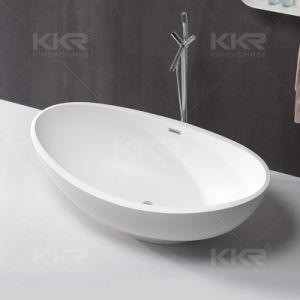 Italy Design Dubai Artificial Stone Black Freestanding Bathtub pictures & photos