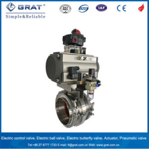 Hygienic Stainless Steel Double Action Pneumatic Butterfly Valve pictures & photos