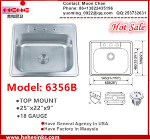 "Stainless Steel Topmount Single Bowl Kitchen Sink, Handmade Sink 25""X22 with Cupc pictures & photos"
