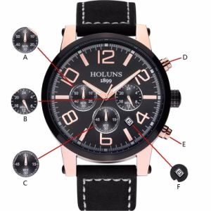Large Dial Leather Strap Quartz Men Watches Fashion Vintage Watch Waterproof Multifunction Man Watches pictures & photos