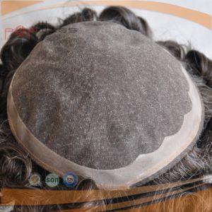 Full Human Hair Grey Color Mono Base PU Border Toupee pictures & photos