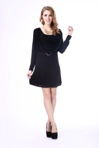 2017 Hot Selling Women Summer Dress Women Long Sleeves Black Tunic Dress pictures & photos