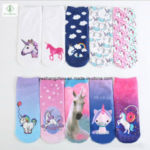 Europe Unicorn Animal Emoji 3D Digital Printed Custom Boat Socks pictures & photos