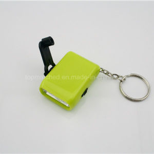Hand Dynamo Mini LED Flashlight Keychain Energy Saving pictures & photos