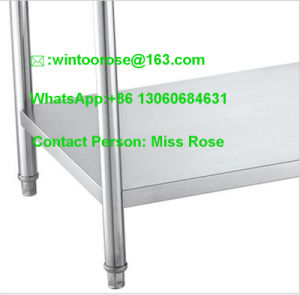 Best Quality Knocked-Down Stainless Steel Kitchen Equipment Two Tiers Work Table pictures & photos
