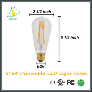 St64 8W Golden Color Dimmable LED Filament Light Bulb Nostalgic Style pictures & photos