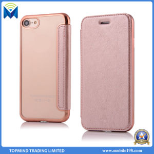 Electroplating Chrome TPU and Leather Wallet Phone Case with Card Slots Kickstand for iPhone 5s 6s 7 7 Plus pictures & photos