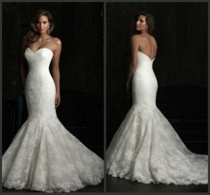 Strapless Lace Bridal Gowns Mermaid Buttons Back Wedding Dress M2017 pictures & photos