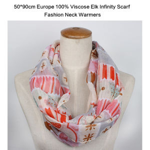 Europe Style Lady Fashion Viscose Infinity Scarf with Elk Printed Muffler pictures & photos