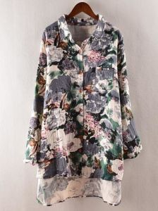 Printed Women`S Flax Gray Shirt