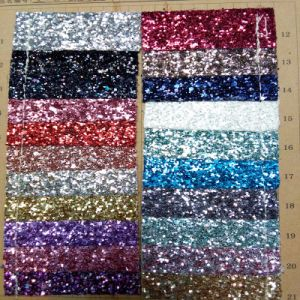 Good Quality Glitter Synthetic Glitter Leather for Glitter Shoes (HS-M301) pictures & photos