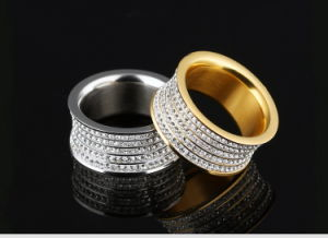 Full Rhinestone Diamond Rose Gold Fashion Designer Woman Rings Stainless Steel Jewelry pictures & photos