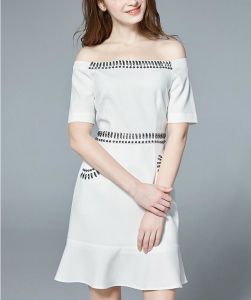 Summer off Shoulder Hand Beading Pure White Beading Women′s Dress pictures & photos