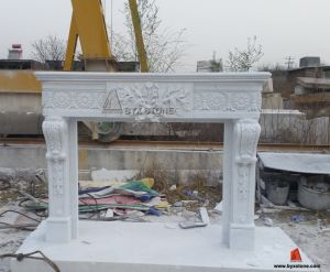 White Marble Fireplace Mantel Antique Stone Surround with Flower Carving pictures & photos