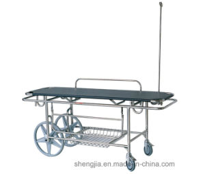 Sjm013 Stainless-Steel Stretcher Cart with Two Wheels and Two Castors