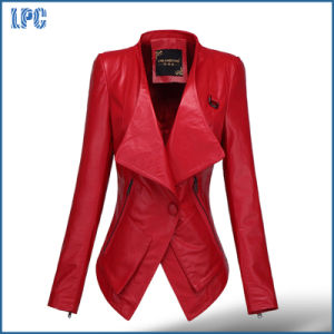Red V -Collar Tunic Ladies Leather Jacket pictures & photos