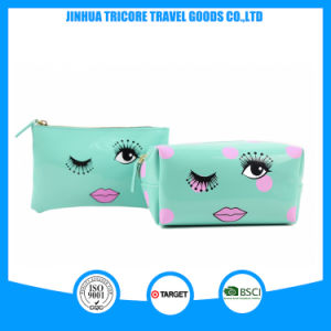 2017 Best Sale Patent PVC Cosmetic Bag Makeup Bag Dots Lips Printed pictures & photos