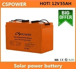 Cspower 12V55ah Gel Battery for Solar Power Storage pictures & photos