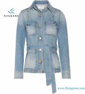 Light-Blue Denim Women Jackets with Waist Belt and Buttons Fastening pictures & photos