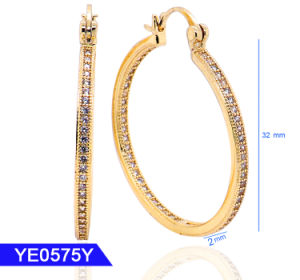 New Design Fashion Jewelry 925 Sterling Silver or Brass Cubic Zirconia Large Hoop Earrings for Women pictures & photos
