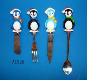 Stainless Steel Fork with Resin Penguin Handle pictures & photos