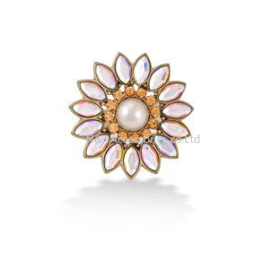 New Women Fashion Big Flower Alloy Ring Sizable Rhinestone Jewellery pictures & photos