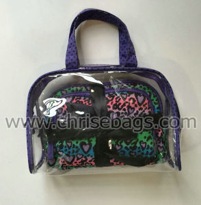 PVC & Satin Sets Cosmetic Handbag for Women pictures & photos