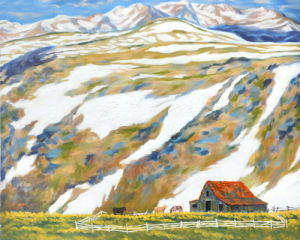 Snow Mountain Wall Picture Cartoon Countryside Canvas Print pictures & photos