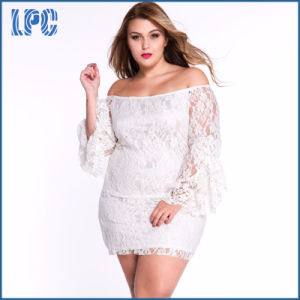 Custom New Designs Lace Fringe Trumpet Fashionable Long Sleeve XL Size Fat Women Dress pictures & photos
