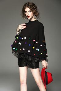 Customization Women′s Spring Black Puff Sleeve Organza Lantern Sleeve Jacket Fleece pictures & photos