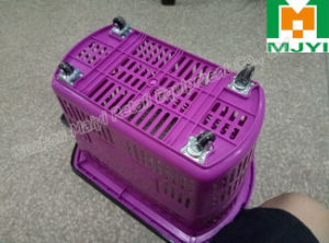 Supermarket Convenient Retail Double Handle Plastic Shopping Basket pictures & photos