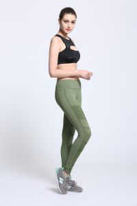 Custom Green Dye Compression Tights Women Pleated Leggings 2017 pictures & photos