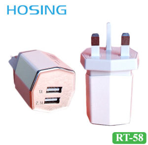 5V 3100mA Dual USB Travel Charger with EU/UK/Us Plug pictures & photos