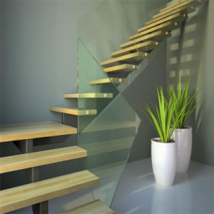 Modern Single Stringer Straight Glass Staircase pictures & photos
