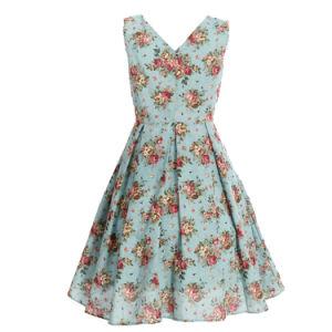 Manufacturer Supplier 50′s Dancing Clothing V Collar Blue Dresses pictures & photos