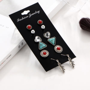 Vintage Leaf Stud Earring Sets for Women Crystal Turquoise and Red Stone Set De Aros pictures & photos