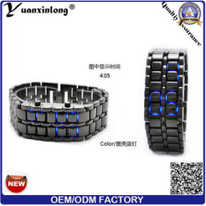 Yxl-151 Lava LED Watches Fashion Plated Black/Silver Binary LED Digital Waterproof Watch Womens Men Wrist LED Watch pictures & photos