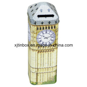 London Style Clock Tower Tin Money Box Promotional Tin Coin Bank, Clock Tower Shaped Mail Box, Coin Saving Box (XJ-015F)