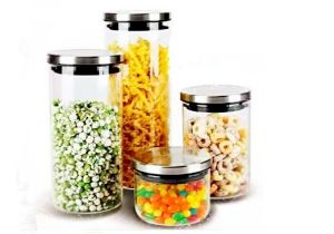 High Borosilicate Glass Food Storage Jar with Stainless Steel Lid