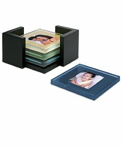 Glass Photo Coasters With Storage Rack (MMW0011)