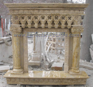 Sandstone Fireplace for Stone Marble Mantel (QY-LS326) pictures & photos