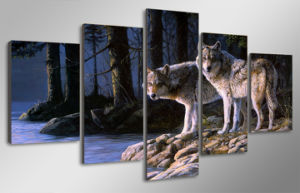 HD Printed Animal Two Wolves Painting Canvas Print Room Decor Print Poster Picture Canvas Mc-019 pictures & photos