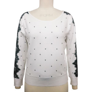 Ladies Boat Neck Dolman Sweater with Embroidery