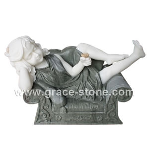 Natural Marble Sleeping Kids Statue pictures & photos