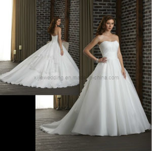 Custom Made a-Line Organza Bridal Wedding Dress/Wedding Gown (Angela-061)